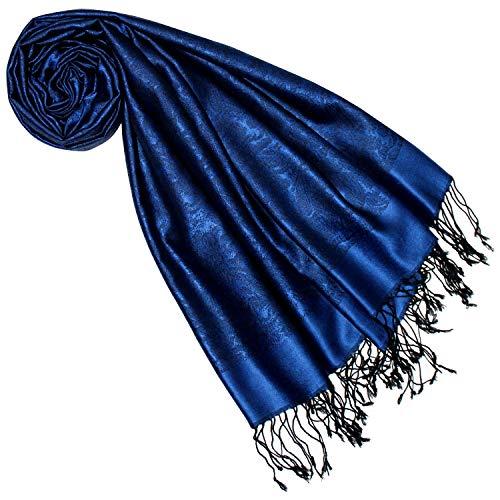 LORENZO CANA Luxus Damenschal 70% Seide 30% Viskose mit Paisleymuster Schaltuch 70 cm x 190 cm zweifarbig Blau Schal 7842077