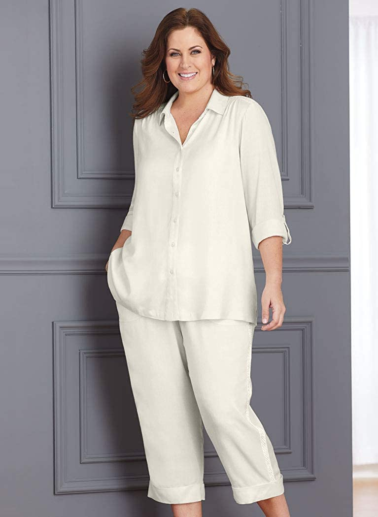 ANTHONY RICHARDS Women's Mesh Accent Capri Set - Silky Blouse & Roll-Cuff Pants Outfit White 20 Women