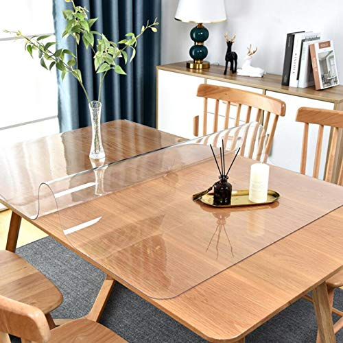 48x24 Inch Crystal Clear PVC Table Cover Protector, 1.5mm Thick Desk Cover Protector Clear, Table Top Protector for Kitchen Dinning Room Table Wood Furniture, Wipeable Easy to Clean Waterproof