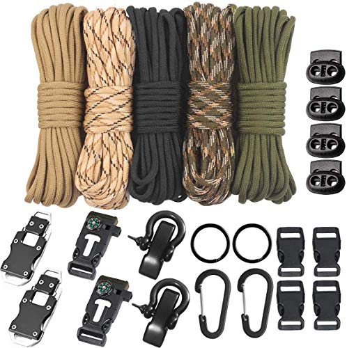 TooTaci Paracord 550 - Paracord Bracelet Combo Crafting Kits -Many Colors of Parachute Cord with Accessories,Survival Cord Bracelets Multitool Survival Gear Tactical EDC Bracelet