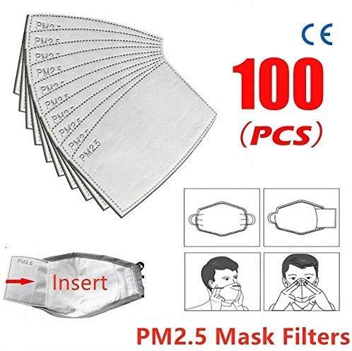 QianQi 100PC PM2.5 Filtro de carbón Activado Filtro de Almohadilla activada filtros de respiración de Carbono antiniebla Adulto Filtro de carbón Activado Protector de 5 Capas reemplazable
