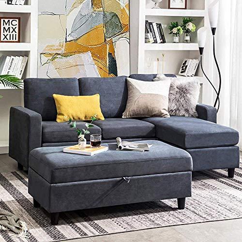 YRRA Reversible 3 plazas sofá sofá con otomano Tejido Moderno sofás l Conjunto de sofá seccional en Forma para Sala de Estar Gris-Gris Azulado