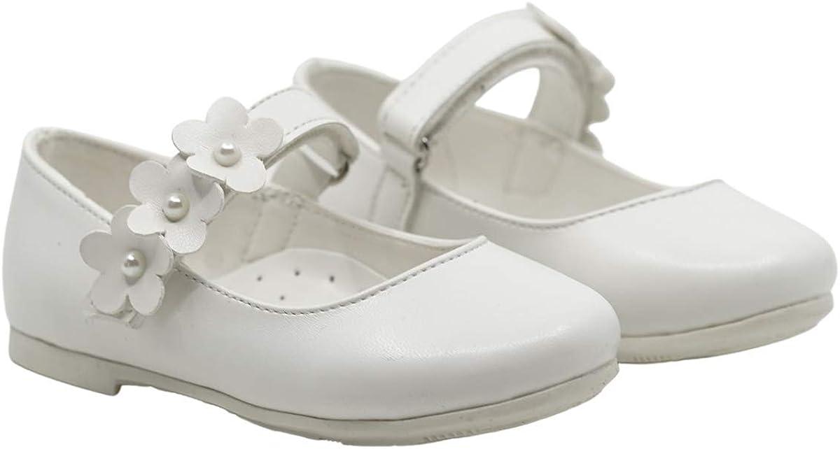 Yacamoz Daisy Toddler Mary Jane Shoes | Stylish European Comfortable Ergonomic Girls Shoes (White, Numeric_7)