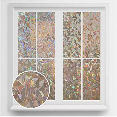 rabbitgoo Fensterfolie Anti-UV Sichtschutzfolie Blickdicht Dekorfolie ohne Klebstoff Statisch Fenster Folie Selbsthaftend Klebefolie ohne Klebstoff 44.5 X 200CM