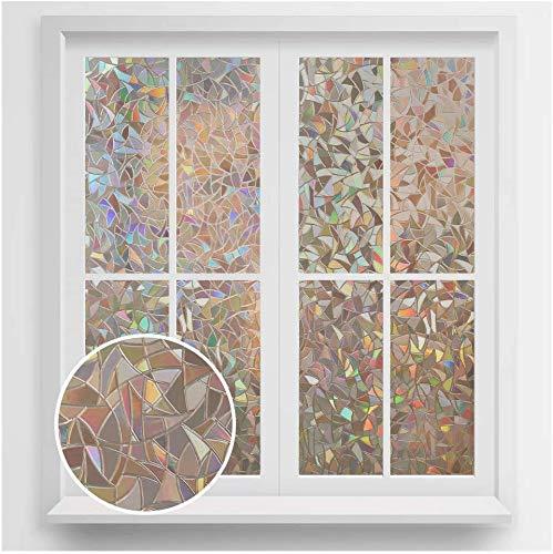 rabbitgoo Fensterfolie Anti-UV Sichtschutzfolie Blickdicht Dekorfolie ohne Klebstoff Statisch Fenster Folie Selbsthaftend Klebefolie ohne Klebstoff 90 X 200CM