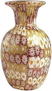 Jarrón con Millefiori Rosa Oro - Cristal de Murano Original