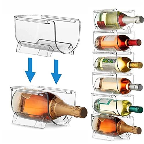 HAOSHAN 4pcs Transparent Wine Storage Rack, caja de almacenamiento de bebidas embotellada, titular de la botella de vino universal Organizador de almacenamiento de refrigerador for encimeras de cocina