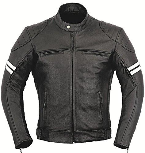 GearX Franklin Leder Motorrad Jacke Motorradfahrer Männer Schutz Mantel - schwarz, L