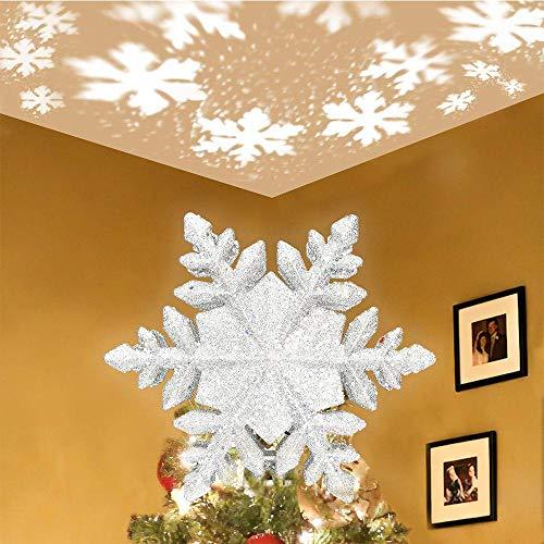 Hamkaw Weihnachtsbaumspitze mit Stern, 3D Funkeln Schneeflocken-Projektor-Deckel-Lichter, Innennachtlicht-Projektor für Weihnachtskinderzimmer-Schlafzimmer
