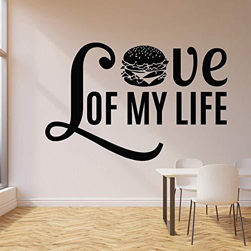 Frase pared calcomanía amor hamburguesa texto creativo vinilo pegatina comida rápida restaurante cafetería decoración interior mural