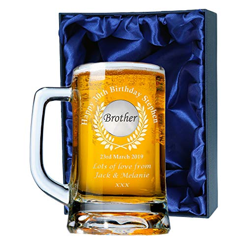 Great Gifts Men's 30th Birthday Engraved Brother Pint Glass Tankard in Satin Box