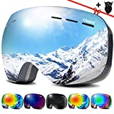 Qinner Ski Goggles -Anti Fog Over Glasses & UV Protection Snowboard Goggles Compatible Windproof Helmet Lens Goggles for Skiing & Skating & Outdoor VLT 13% Black Frame Siliver Lens