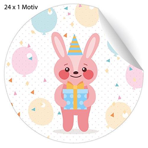 24 schattige verjaardagsstickers voor verjaardag, met feest hazen en ballonnen, mat, papieren stickers voor geschenken, universele etiketten voor tafeldecoratie, pakketten, brieven (ø 45 mm; 24 x 1 motief) 5 x 24 stickers