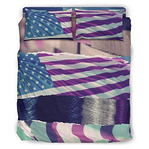 Four-piece Bed Set Printed America Flag Geometric Pattern Duvet Cover Set Bed Sheet Multi Colour Christmas Duvet Cover white 203x230cm
