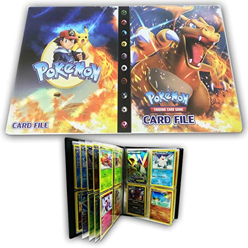 HanFashion Card Album Compatible with Pokemon Cards, Card Holder, Binder Cards Album Book Best Protection Trading Cards Put up to 240 Cards, Charizard
