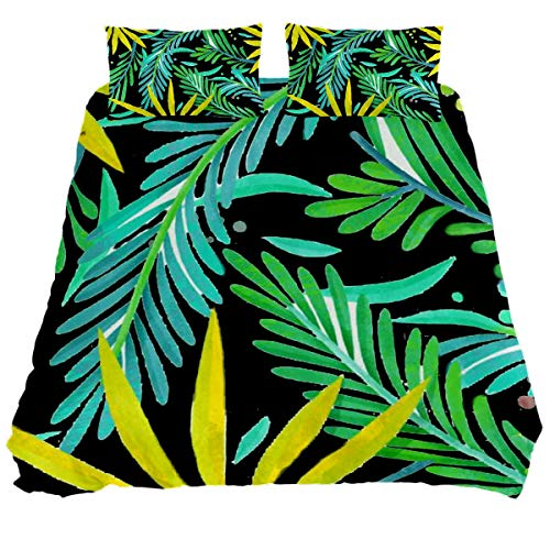Audrey Brown Bed Sheets Sheet & Pillowcase Sets Mattress Topper Bed Soft Duvet Cover Summer Duvet Printed Duvet Cover Green leaf on black Double