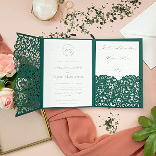 Forest Green Laser Cut Wedding Invitations with Envelopes DIY Lace Elegant Kit with template Floral trifold printable Invitation - PRE-PRINTED SAMPLE!
