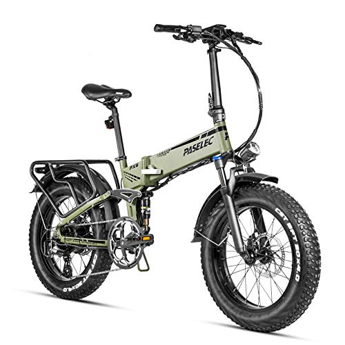 Paselec Electric Folding Bike foldable Ebike 20 inch Fat Tire Electric Bicycle 8 Speed 750w