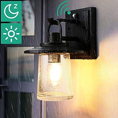 Lamomo Farmhouse Barn Wall Sconce, Seeded Glass Industrial Black Light Fixture with LED Light Bulb, Dusk to Dawn Sensor Waterproof Aluminum Wall Lamp for Doorway Garage E26 Socket