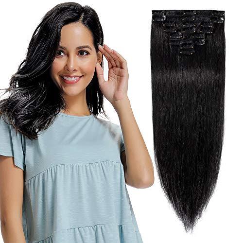 Extension a Clip Cheveux Naturel Cheveux Humain - Rajout Cheveux Naturel 8 Pcs Volume Fin (#01 Noir, 20 cm (45 g))