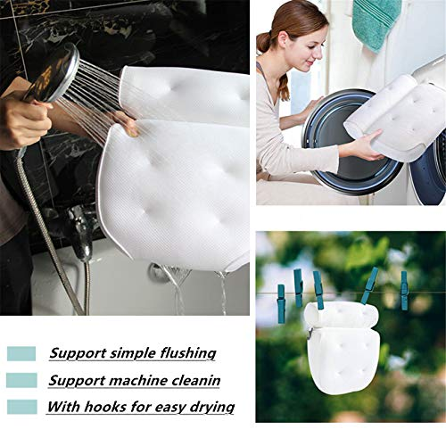 Eastjing Bath Pillow 4D Air Mesh Bathtub Pillow with 6 Large Size Suction Cups Perfect Head, Neck, Back and Shoulder Support Fits All Bathtub, Hot Tub, Jacuzzi and Home Spa