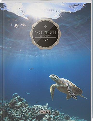 """TULPE Punktraster Notizbuch A4 """"C060 Schildkröte"""" (140+ Seiten, Vintage Softcover, Punktkariertes Papier - Bullet Journal, Dickes Notizheft, ... Gepunktete Seiten, Dot Grid Notebook)"""