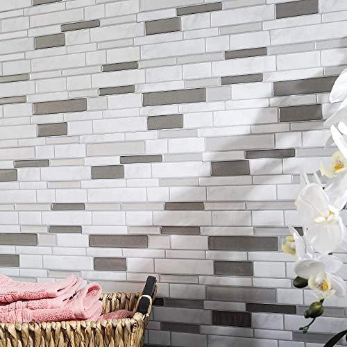 Vinilo decorativo para azulejos grueso y resistente al desgaste,Mosaico de mármol blanco gris Shell y palo autoadhesivo azulejo de pared para salpicaduras DIY cocina baño hogar pared calcomanía 3D