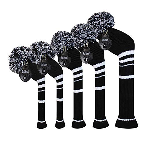 Scott Edward Black White Stripes Golf Headcover Set of 5 PCS, Driver Wood Cover1, Fairway Wood Cover2, Hybrid Cover 2, with Rotating Number Tags.