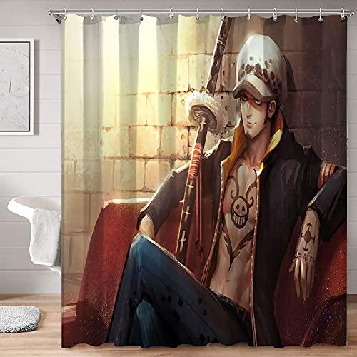 Cortinas de ducha lavables impermeables Anime de una sola pieza Trafalgar Law impresiones para cortina de ducha 123 x 183 cm