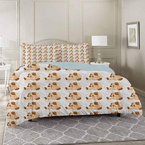 YUAZHOQI Dog Lover Duvet Cover Set King, Stuffed Toy Design Children Plaything Digitally Composed Animal Sitting Pos Decorative 3 Piece Bedding Set with 2 Pillow Shams