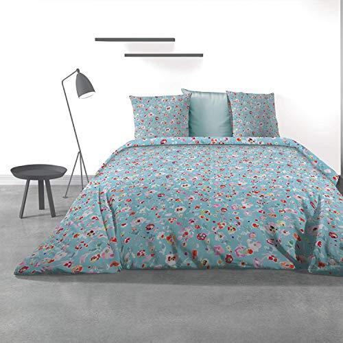 Les Ateliers du Linge - Parure Liberty Blue pour lit Double - Housse de Couette 240x220 cm et 2 taies d'oreiller 63x63 cm – Coton - Motif imprimé Fleuri