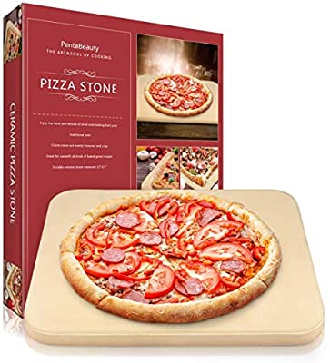 Pizza Stone, Heavy Duty Ceramic Pizza Grilling Stone, Pizza Stone for Oven, Grill Accessories, Thermal Shock Resistant, 15x12 Inch Baking Stone