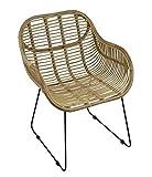 animal-design Rattanstuhl Venus Korb-Sessel - Natur - Retro 50er Lounge Loft Esszimmer Garten Küche Bistro Balkon Terrasse mit Armlehne, Farbe:Natur