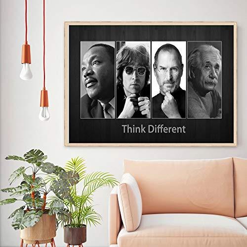 jzxjzx Think Different Vintage Retro Poster & Drucke Home Decoration Große Leinwand Malerei Moderne Wandkunst Bild