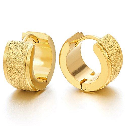 2 Satinado Color Oro Pendientes del Aro para Hombres Mujer, Acero Inoxidable, Huggie Hinged Hoop