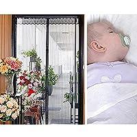 NEWMAKES 簡易あみ戸カーテン マグネット式網戸 玄関カーテン、取り付けが簡単で、穴を開ける必要がなく、最大70-150cm(黒)のドア幅に適した防虫、防蚊、防塵のドアスクリーン (Color : Black, Size : 90x205CM)