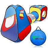 amzdeal Tente Tunnel pour Enfant Intérieur et Extérieur, Tente de Jeu avec Cube +...