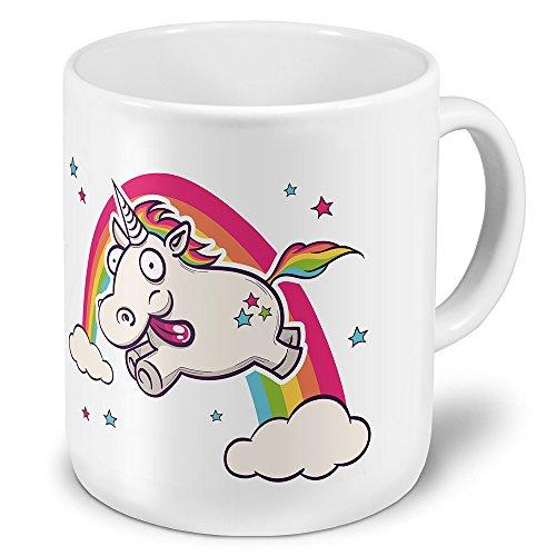 printplanet XXL Riesen-Tasse mit Motiv Verrücktes Einhorn, Kaffeebecher, Mug, Becher, Kaffeetasse - Farbe Weiß