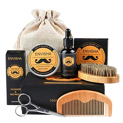 Ritapreaty Baard Grooming Kit, All-Natural Beard Oil Boar Bristle Brush met Gift Set Box Beste cadeau voor mannen/papa