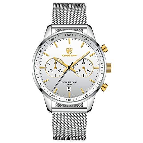 CHEETAH Mens Anti-sudor deportes relojes 24 horas modo de tiempo unisex reloj con malla de acero inoxidable pulsera CH1608