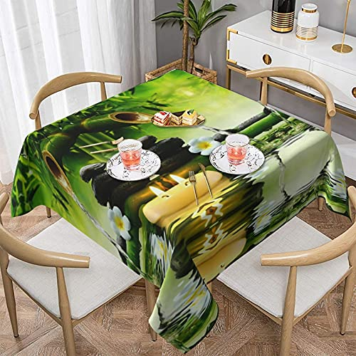 Manteles Manteles Bamboo Stalks Candle and Stones Tablecloth,Waterproof & Wrinkle Resistant Washable Fabric Table Cloth for Parties,Weddings, Kitchen,Buffet Parties and Camping.