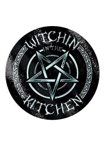 Gothic Homeware Witchin' in The Kitchen - Tabla de cortar circular de cristal