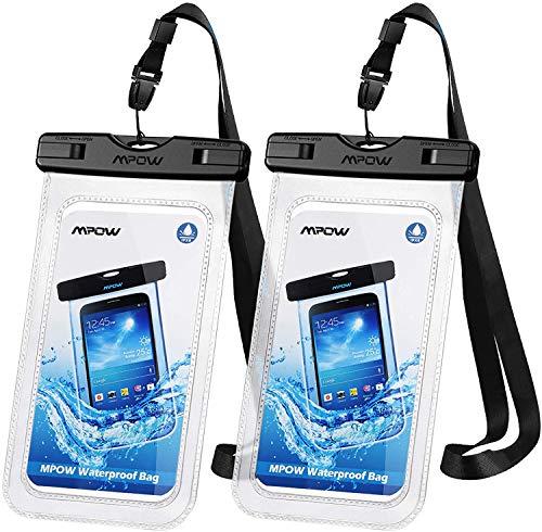 Mpow [2 Pezzi] Custodia Impermeabile Smartphone, IPX8 Sacchetto Impermeabile per Cellulare Fino a 6.5 Pollici, Smartphone Waterproof per iPhone 11/iPhone XS/X/XR/8/8 Plus/Galaxy S10/S9/S8/P30/P20