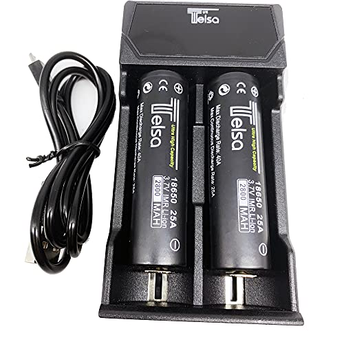 TELSA - 2 Bay USB Charging port with 2 FREE 18650 (Flat Top) Batteries - Two Bay. Multi battery...