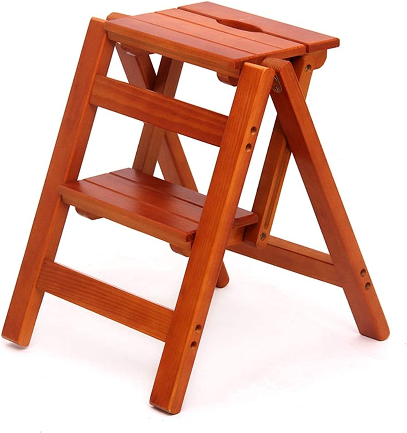 Bookcase Ladders Practical Step Stool Home Two-Step Ladder Folding Multi-Function Stair Chair Indoor Climbing Ladder Simple Wooden Ladder Stool Free Inssizetion Folding Solid Wood Ladder