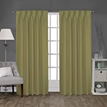 Magic Drapes Home décor 100% Polyester Double Pinch pleateded Blackout Window Curtain Panel & Drapes and Thermal Insulation for Bedroom Living Room (52x84,Bottle Green)