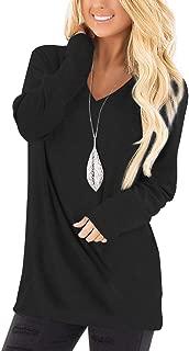 Jescakoo Tunic Tops for Women Long Sleeve Deep V Neck Shirts