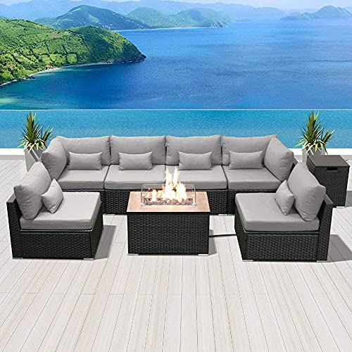 Patio Furniture Outdoor Sectional with Propane Fire Pit Table Espresso Brown Wicker Resin Garden...