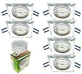 Trango Conjunto de 6 Focos LED empotrados de diseño TG6729S-06MO Luminarias empotradas, Focos de vidrio cortado a mano y aluminio con módulo LED 6x 5 vatios Focos de techo ultraplanos