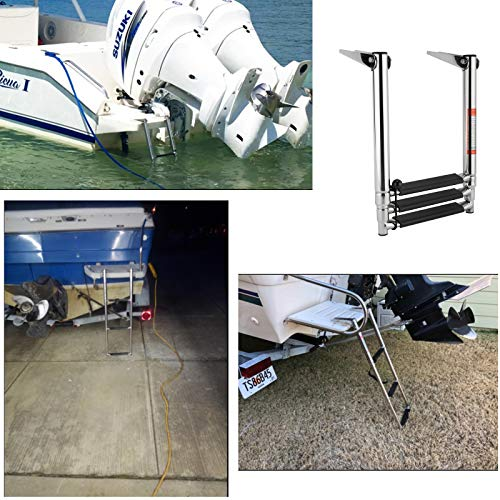 Amarine Made 3 Step Stainless Steel Telescoping Boat Ladder Swim Step